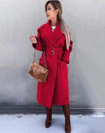 Стилно дамско палто в червено - код 3784