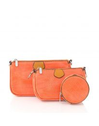 Дамска чанта от три части в оранжево - код NH2889