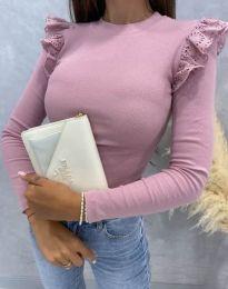 Дамска блуза с къдрички в розово - код 1663