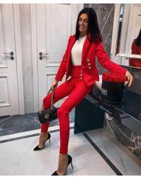 Комплект от сако и панталон в червен цвят - код 889