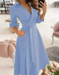 Елегантна дамска рокля в светлосиньо - код 2861