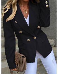 Вталено дамско сако с копчета в черно - код 426