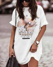 Свободна рокля в бяло с принт - код 3225