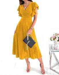 Елегантна дамска рокля в цвят горчица - код 1557