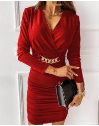 Дамска рокля в червено - код 8999