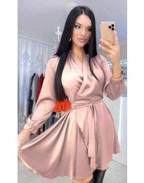 Екстравагантна рокля в цвят пудра - код 5931
