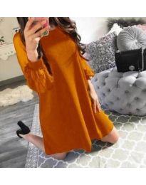 Свободна рокля с тюлени ръкави в горчица - код 857