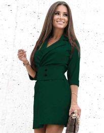 Дамска рокля в тъмнозелено - код 1356