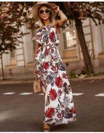 Лятна рокля с флорални мотиви в  бяло  - код 2598
