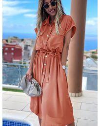 Дълга рокля с копчета в прасковено - код 0014