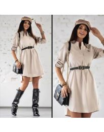 Дамска рокля в бежово - код 9601