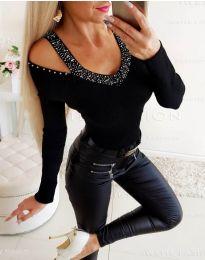 Черна дамска блуза с ефектно деколте - код 3488