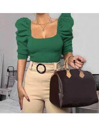 Дамска блуза с бухнали ръкави в зелено - код 9867