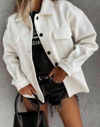 Дамско свободно късо палто в бяло - код 4984