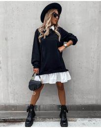 Свободна дамска рокля в черно - код 5516