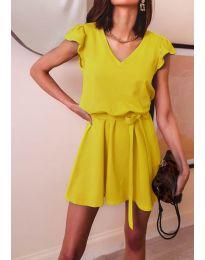 Изчистена рокля в  цвят горчица - код 5551