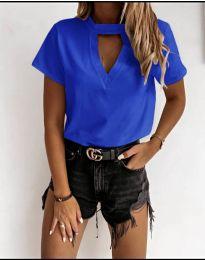 Дамска изчистена тениска в тъмно синьо - код 3597