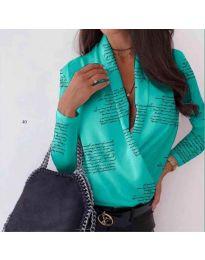 Дамска стилна риза-боди в тюркоазено с надписи - код 678