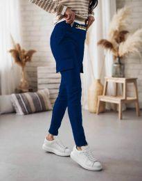Дамски спортен панталон със странични джобове в тъмносиньо - код 5130