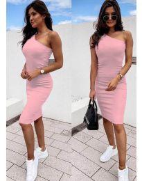 Дамска рокля в розово с голо рамо - код 0208