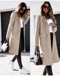 Дълго дамско палто в бежово - код 3435