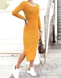 Изчистена дамска рокля в цвят горчица - код 2326
