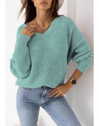 Дамски пуловер в цвят тюркоаз - код 0283