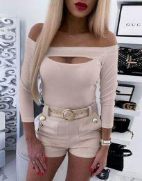 Екстравагантна дамска блуза в бежово - код 4205
