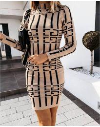 Дамска рокля с ефектен десен в бежово - код 0258