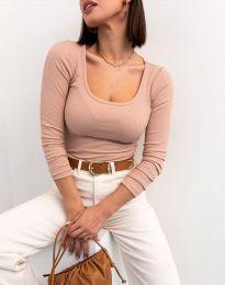 Изчистена блуза в цвят пудра - код 11662