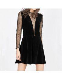 Черна елегантна рокля с дантела - код 291