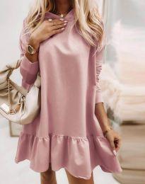 Свободна дамска рокля в цвят пудра - код 9376