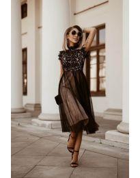 Ефирна дамска рокля в черно - код 8090