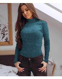 Дамска блуза с поло яка в тюркоаз - код 6323