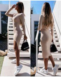 Стилна дамска рокля в бежово - код 8291