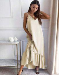Свободна рокля в бежово - код 4671