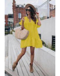 Свободна дамска рокля в жълто  - код 6868