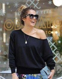 Ефектна дамска блуза в черно - код 7067