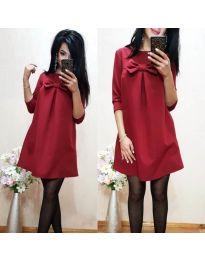Свободна дамска рокля с пандела в бордо - код 498