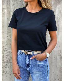 Дамска изчистена тениска в черно - код 5233