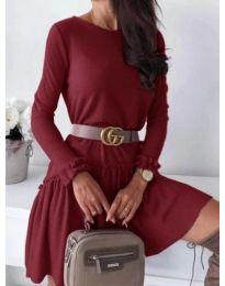 Изчистена рокля в бордо с декоративни къдрички - код 350