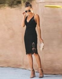 Дамска рокля в черно с атрактивен гръб - код 4580
