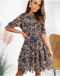 Дамска рокля с ефектен десен - код 8877 - 3