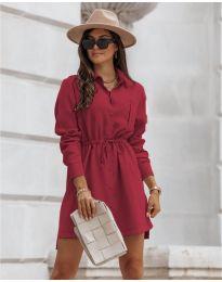 Рокля тип риза в цвят бордо - код 132