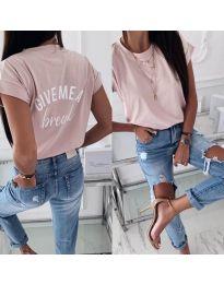 Дамска тениска с надпис при гърба в цвят пудра - код 3293