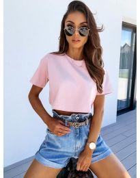 Къса тениска в розово - код 608