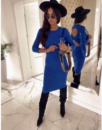 Дамска рокля в синьо с ефектен гръб - код 5169