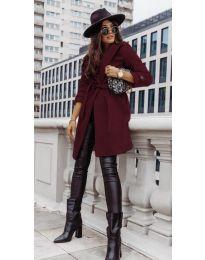 Дамско палто с колан в бордо - код 3839