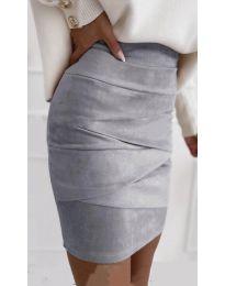 Стилна пола в сиво - код 7451