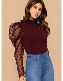 Блуза в бордо по тялото с бухнали тлени ръкави на булинки - код 3563